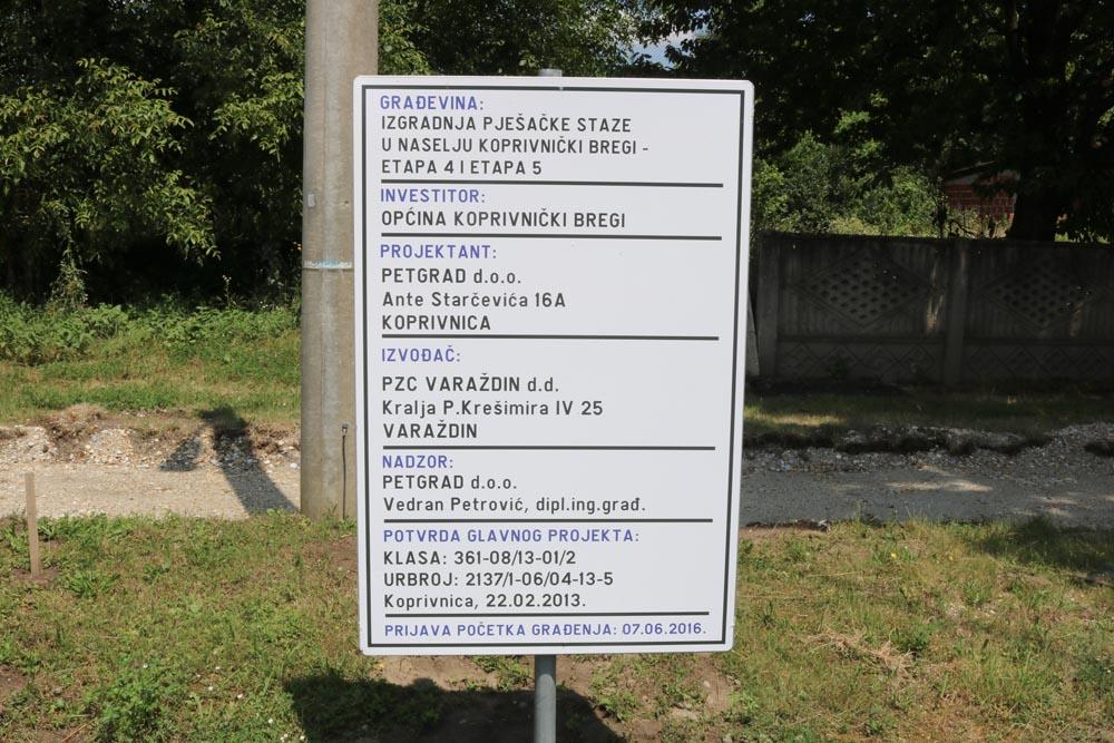 Nastavljeni radovi na izgradnji pješačke staze u naselju Koprivnički Bregi – etape 4 i 5